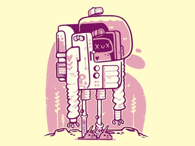 Lof Fi Cyberpunk with colour silly ux video game backpack machine cyberpunk robot ui astronaut space skull hipster cartoon retro cute character design blake stevenson jetpacks and rollerskates illustration