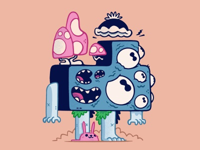 Block Monster Colour product illustration ux ui surreal psychedelic weird hat mouths eyes bunny mushroom monster hipster cartoon retro cute blake stevenson jetpacks and rollerskates illustration character design