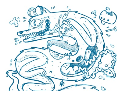 Hungry (wolf) boy ui ux mural arrow tattoo weird gross ghosts pizza fox forest animal wolf skull hipster retro character design blake stevenson jetpacks and rollerskates illustration