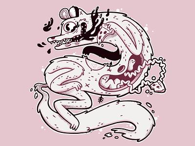 One Eyed Pizza Wolf ux ui print food teeth body intestine eye occult tattoos wolf pizza cartoon hipster retro cute character design blake stevenson jetpacks and rollerskates illustration