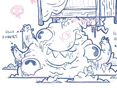 Monster Under Bed video game ux ui slimey silly wip indiegame teeth eyes gross monster bed cartoon toronto retro cute character design blake stevenson jetpacks and rollerskates illustration