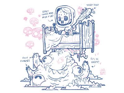 Monster Under Bed video game slimey ux ui silly skulls bed mask bat teeth eyes monster 80s cartoon retro cute character design blake stevenson jetpacks and rollerskates illustration