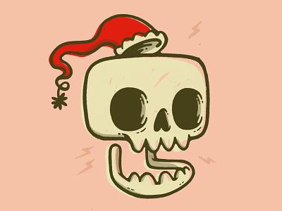 Skulls + Christmas = Win Win skull art draw skulls happy ux ui xmas skeleton crossbones lightning hat christmas skull hipster cartoon retro cute character design blake stevenson jetpacks and rollerskates illustration