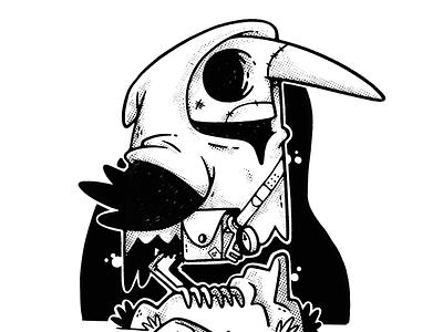 Plague Bird poster art apparel design dark bird black and white creepy cult virus plague skull hipster cartoon retro cute character design blake stevenson jetpacks and rollerskates illustration