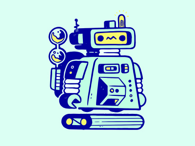 Cute Robot Character claw lights ux ui metal lightbulb clean minimal design 80s future robot cartoon hipster retro cute character design blake stevenson jetpacks and rollerskates illustration
