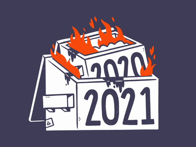 Dumpster Fire 2020/2021 (product drop) apparel tshirt 2021 2020 fire dumpster fire dumpster cartoon retro cute character design blake stevenson jetpacks and rollerskates illustration