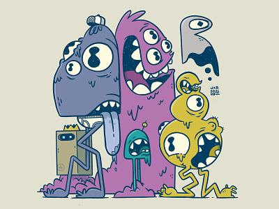 Group of Freaks! comic art silly creepy slime tongue legs eyes ux ui monsters 80s skull hipster cartoon retro cute character design blake stevenson jetpacks and rollerskates illustration
