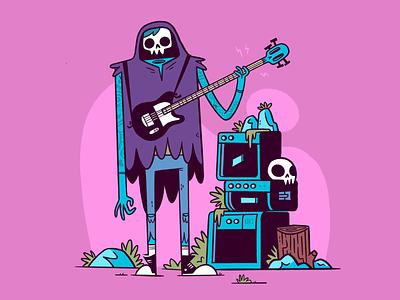 Death Metal Guy silly ux ui rock and roll rockstar skeleton weird music metal guitar 80s skull hipster cartoon retro cute character design blake stevenson jetpacks and rollerskates illustration