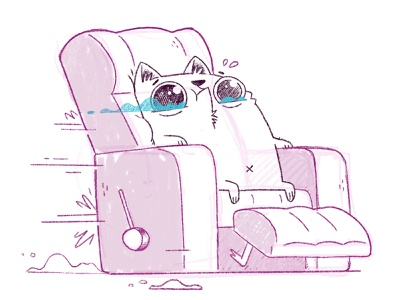 Cat in Evil Recliner motion movement fast scared funny silly eyes chair cat hipster cartoon retro cute character design blake stevenson jetpacks and rollerskates illustration