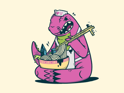 Kaiju's Ramen (based on mighty jaxx figure) food lizard ramen kaiju 80s skull hipster cartoon retro cute character design blake stevenson jetpacks and rollerskates illustration