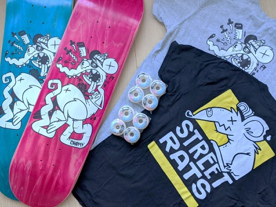 Street Rats Skateboard Pack ux ui clean rodent skateboarding graphic design wheels apparel logo apparel skateboard rat skull hipster cartoon cute retro character design blake stevenson jetpacks and rollerskates illustration