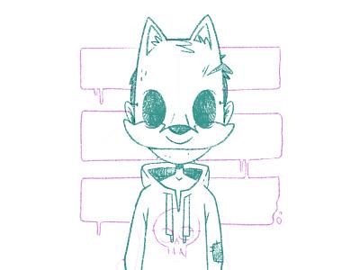 Creepy Fox Mask Kid Sketch horror art mask logo fox horror 80s skull hipster cartoon cute retro character design blake stevenson jetpacks and rollerskates illustration