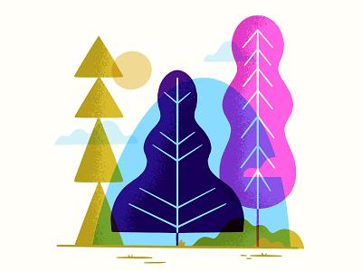 Geometric Forest disney mary blair product illustration geometric mid century book illustration editoral vector trees landscape hipster retro cute blake stevenson jetpacks and rollerskates illustration
