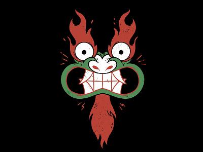 AKU Samurai Jack tv show cartoon network kaiju japanese dragon flames eyes teeth face aku samurai jack 90s hipster cartoon retro cute character design blake stevenson jetpacks and rollerskates illustration