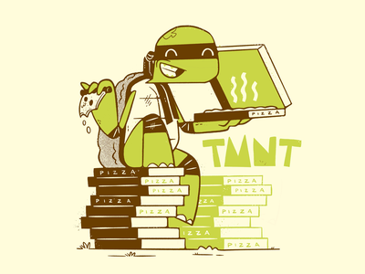 Teenage Mutant Ninja Turtles simple ninja pizza turtle comic art comic book nickelodeon print design tmnt 90s 80s skull hipster cartoon retro cute character design blake stevenson jetpacks and rollerskates illustration