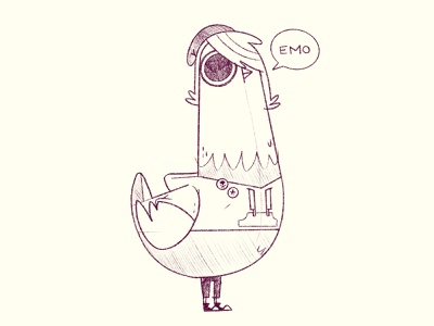 Emo Pigeon sketch wip ux ui logo band music app video game concept art pigeon bird emoji hipster cartoon retro cute character design blake stevenson jetpacks and rollerskates illustration