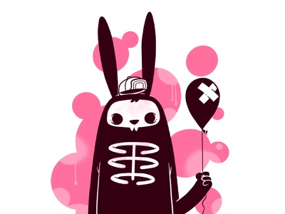 skeleton bunny ui rabbit illustration cartoons videogame concept art street wear street art hat balloon skeleton bunny rabbit skull cartoon retro cute character design blake stevenson jetpacks and rollerskates illustration