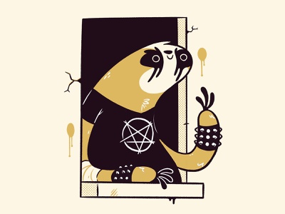 Black Metal Sloth ux ui window indie game comic concept art pentagram punk sloth metal 80s skull hipster cartoon retro cute character design blake stevenson jetpacks and rollerskates illustration