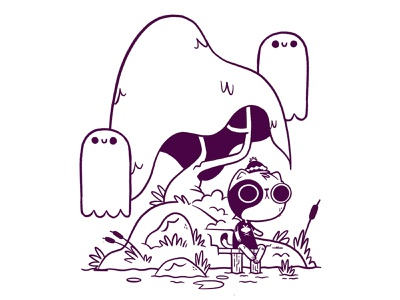 kitty on ghost island (inks) camping forest rocks concept art lake pond water tree dock cat island ghost hipster cartoon retro cute character design blake stevenson jetpacks and rollerskates illustration
