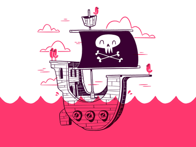 Pirate Ship silly waves ocean clouds water birds ux ui simple boat skull pirate hipster cartoon retro cute character design blake stevenson jetpacks and rollerskates illustration