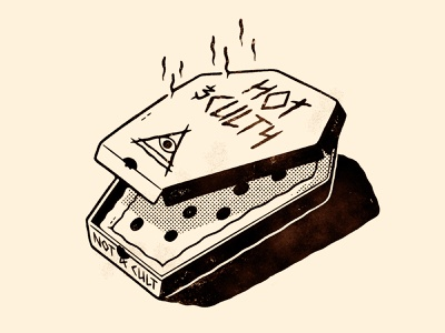 Coffin Pizza Box (Cult of Za) spooky coffin package design box ux ui illuminati creepy handlettering hand drawn logo cult pizza cartoon retro cute character design blake stevenson jetpacks and rollerskates illustration