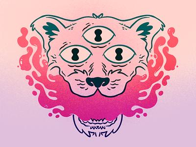 3 eyed big cat tiger big cat mouth tattoo lion cats psychedelic eyes slime cat 80s skull hipster cartoon retro cute blake stevenson jetpacks and rollerskates illustration character design