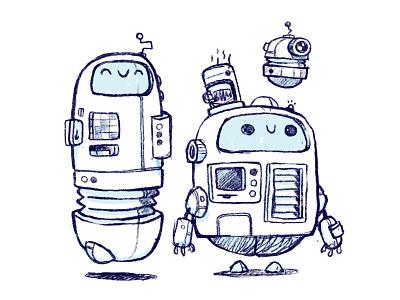 Scribbly Robot Frands kids art adorable chibi concept art space science fiction scfi vent card reader coffee robot ui ux 80s retro cute character design blake stevenson jetpacks and rollerskates illustration