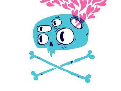 Heart Exploding Brain Skull photoshop logo design emoticon music skateboard creepy bones eyes print emo hearts skull hipster cartoon retro cute character design blake stevenson jetpacks and rollerskates illustration