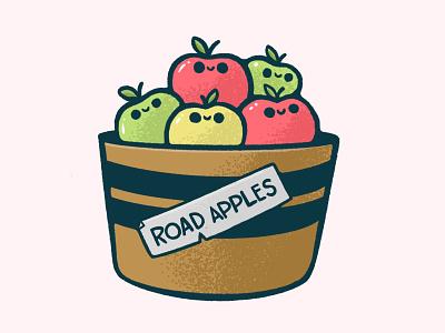 Road Apples sticker icon logo chibi face basket bucket donut apple 80s skull hipster cartoon retro cute character design blake stevenson jetpacks and rollerskates illustration