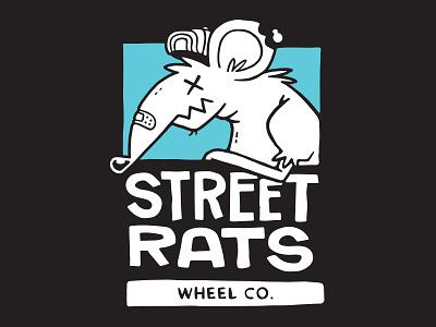 Street Rats Wheels hand lettering hand drawn ui mouse logo design skateboard design logo rats 80s skull hipster cartoon retro cute character design blake stevenson jetpacks and rollerskates illustration
