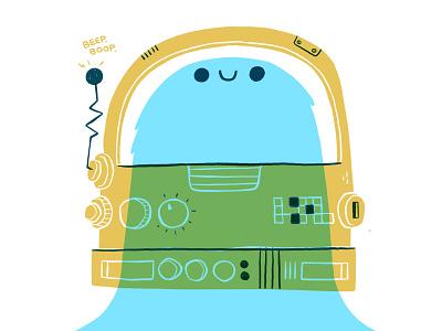 Cute Space Monster ux ui simple 2 color print graphic design astronaut space cartoon retro cute character design blake stevenson jetpacks and rollerskates illustration il