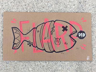 FLARP FISH (on cardboard) handmade type lettering dead art comic font hand lettering typography fish cardboard cute design logo cartoon retro character design blake stevenson jetpacks and rollerskates illustration
