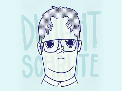 Dwight Schrute Character Concept show tv television beet the office dwight schrute logo retro ui design cartoon cute character design blake stevenson jetpacks and rollerskates illustration