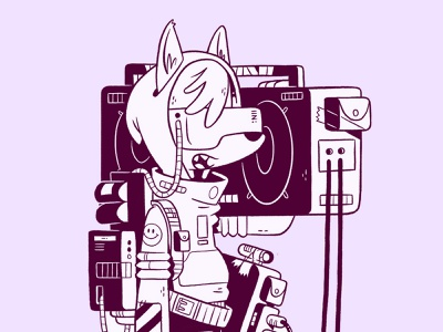 Cyber Punk Fox virtual reality vector vr boombox 90s 80s animal fox cyberpunk ui logo design cartoon retro cute character design blake stevenson jetpacks and rollerskates illustration