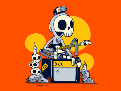 Skull Guitar Player music cool low brow street art apparel skeleton skull rock and roll amp guitar logo cartoon retro cute character design blake stevenson jetpacks and rollerskates illustration ill animation