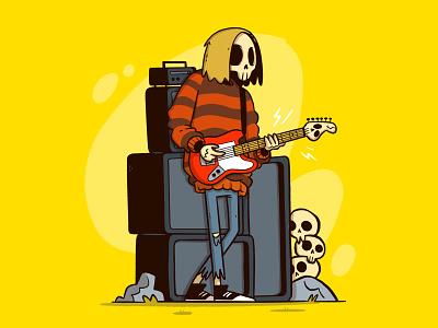 Grunge Skull Rock! hair sweater amplifier grunge skeleton guitar skull ui logo design cute cartoon retro character design blake stevenson jetpacks and rollerskates illustration