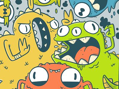 Monster Party! pizza dinosaur teeth poster art video game concept art mouths eyes monster logo design cute cartoon retro character design blake stevenson jetpacks and rollerskates illustration