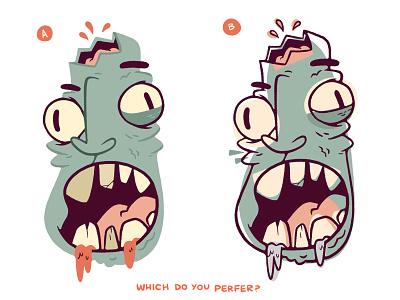 Zombie (Colouring exploration) haunted spooky brain teeth mouth halloween horror face zombie logo design cartoon retro cute character design blake stevenson jetpacks and rollerskates illustration