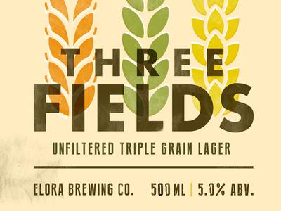 Three Fields Triple Grain Lager beer print retro label package design grain brew simple elora ontario