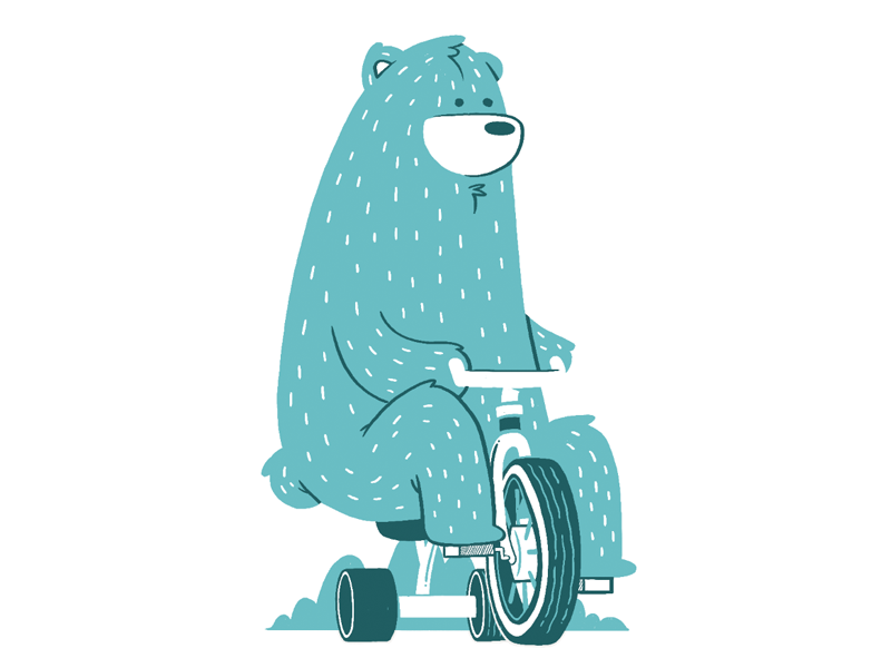 Bear on tricycle kitchener toronto furry wip kids baby silkscreen forest tricycle gig poster bear illustration