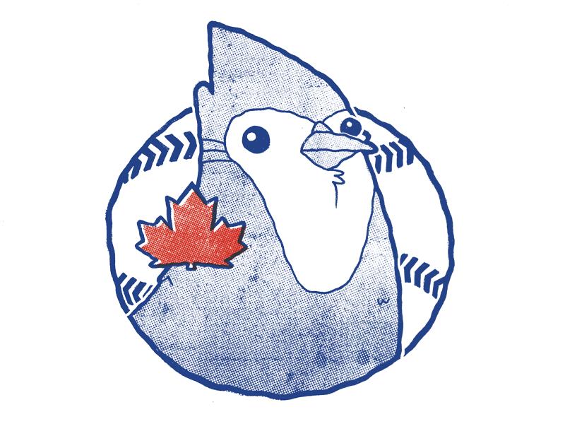 Toronto Blue Jays Alt Logo bird cartoon badge jetpacks and rollerskates logo worn vintage retro baseball blue jays illustration