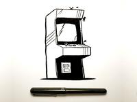 Arcade cabinet ink sketch