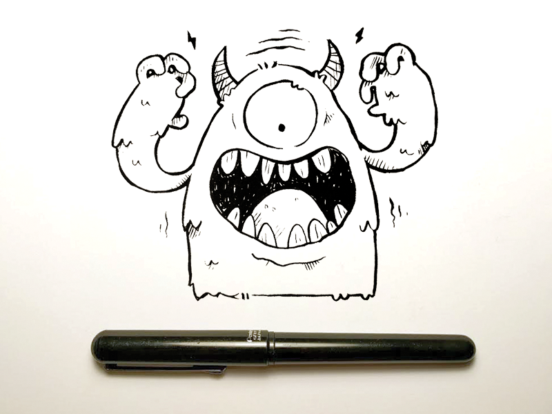 Pen Brush Monster jetpacks and rollerskates eye toronto character design wip kids kids illustration cute retro brush pen monster illustration