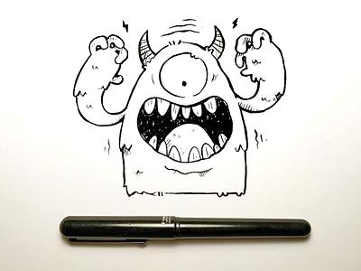 Pen Brush Monster jetpacks and rollerskates eye toronto character design wip kids kids illustration cute retro brush pen monster illustration