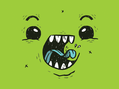 Monster Face ui cartoon jetpacks and rollerskates character design yelling slime cute creature monster illustration