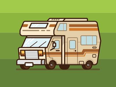 RV Camper 80s 70s jetpacks and rollerskates winnebago retro camper van road trip forest camper illustration rv