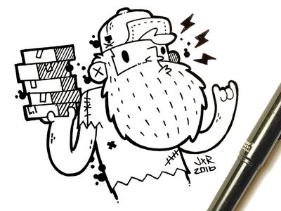 Hipster Beard Delivery Dude Sketch sketch cartoon beard jetpacks and rollerskates tattoo lightening bolt street art hipster 80s illustration