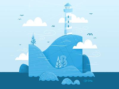 Lighthouse (blue overlay) birds cartoon trees jetpacks and rollerskates kids book childnren book island hipster lighthouse illustration