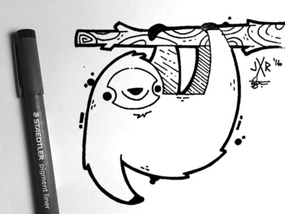 Sloth Ink animal forest outdoors jetpacks and rollerskates wilderness sketch cute sloth illustration