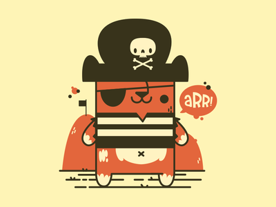 Pirate Cat cat cute jetpacks and rollerskates tattoo kitty pirate skull retro illustration